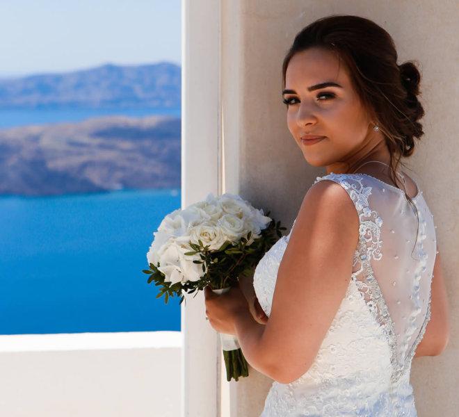 Santorini Wedding Hairstyle by Sofie's Choice Hair Salon in Oia, Santorini