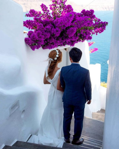 Santorini Wedding Hairstyle by Sofie's Choice Hair Salon in Oia, Santorini